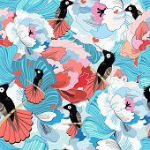 Floral pattern with hummingbird