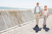 Senior couple walking and holding hands on a sunny day