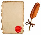 Antique Paper Sheet With Seal And Vintage Ink Pen
