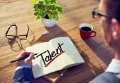 A Man Brainstorming about Talent Concept