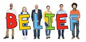 Multiethnic Group of People Holding Letter Belief