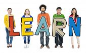 Group of Diverse People Holding Word Learn