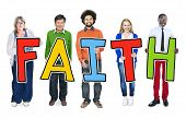 Multiethnic Group of People Holding Letter with Faith Concept