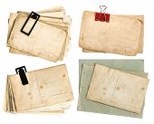 Old Postcards And Envelopes Isolated On White