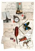 Old Letters, Accessories And Postcards. Travel Concept