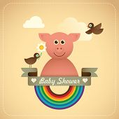 Baby shower illustration with comic pig. Vector illustration.