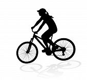 cyclist woman silhouette vector