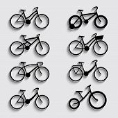 bicycle icon set with shadow on a grey background