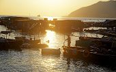 sunset at hong kong fishing village