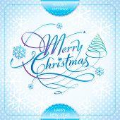 Merry Christmas handwriting calligraphy lettering season's greeting design. Vector.
