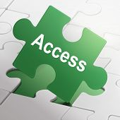Access Word On Green Puzzle Pieces