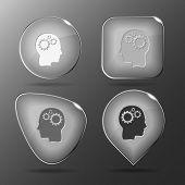 Human brain. Glass buttons. Raster illustration.