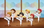 picture of karate kid  - Illustration of the kids practicing karate - JPG