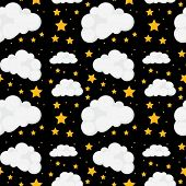 Illustration of a seamless stars and clouds