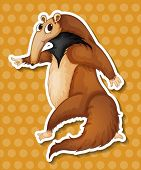 stock photo of ant-eater  - Illustration of an ant eater with polkadot background - JPG