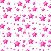 Illustration of the seamless design with pink stars on a white background