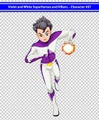 Illustration of a violet and white superhero with a blazing power