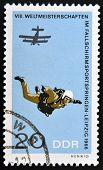 GERMANY - CIRCA 1966: A stamp printed in East Germany shows parachutist circa 1966