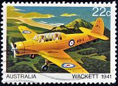 AUSTRALIA - CIRCA 1980: A stamp printed in Australia shows the Wackett trainer aircraft in 1941