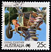 AUSTRALIA - CIRCA 1988: A stamp printed in Australia of the Living Together Australia series