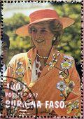 BURKINA FASO - CIRCA 1997: A stamp printed in Burkina Faso shows Diana of Gales circa 1997