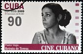 CUBA - CIRCA 2009: A stamp printed in Cuba dedicated to Cuban cinema shows Pastor Vega