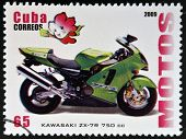 CUBA - CIRCA 2009: A stamp printed in Cuba dedicated to the motorbikes shows Kawasaki ZX - 7R 750 cc