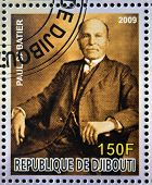 DJIBOUTI - CIRCA 2009: stamp dedicated to French Nobel chemistry prize shows Paul Dabatier
