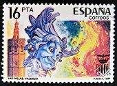SPAIN - CIRCA 1984: stamp printed in Spain shows Las Fallas in Valencia circa 1984