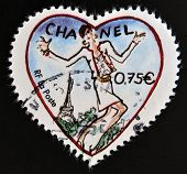 FRANCE - CIRCA 2003: A stamp printed in France shows a heart by Chanel circa 2003