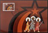 LIECHTENSTEIN - CIRCA 1983: A stamp printed in Liechtenstein shows The three magi christmas