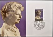 LIECHTENSTEIN - CIRCA 1983: A stamp printed in Liechtenstein shows Princess Gina circa 1983