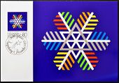 LIECHTENSTEIN - CIRCA 1983: A stamp printed in Liechtenstein shows coloured snow crystal circa 1983