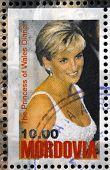 MORDOVIA - CIRCA 1998: stamp printed in Mordovia shows the princess of Wales Diana circa 1998