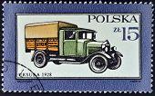 POLAND - CIRCA 1987: A stamp printed in Poland shows Truck Ursusa - 1928 circa 1987