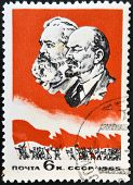 USSR - CIRCA 1965: A stamp printed in USSR shows portrait of Karl Marx and Vladimir Lenin circa 1965