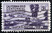 UNITED STATES OF AMERICA - CIRCA 1948: A stamp printed in USA shows Sutter's Mill Coloma Discovery