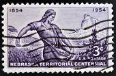 UNITED STATES OF AMERICA - CIRCA 1954: A stamp printed in USA shows image of Nebraska