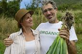 Agriculture: Couple of organic farmers showing green onion
