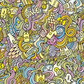 doodles hand drawn sale shopping seamless pattern