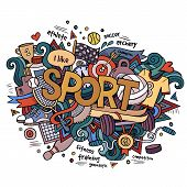 Sport hand lettering and doodles elements background.