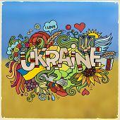 Ukraine hand lettering and doodles elements background.