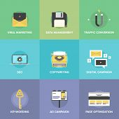 Digital Marketing And Web Optimization Flat Icons