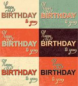 Set happy birthday hand lettering calligraphy
