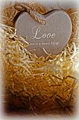 Brown Wooden Love Heart In A Love Nest