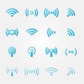 Bright blue wireless icons set