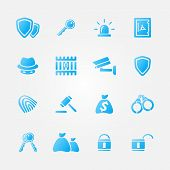 Blue security vector icons