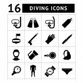 Set Icons Of Diving Items