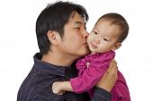 Father Kiss Little Daughter