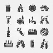 Beer vector icons set - black beer symbols